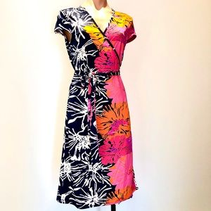 NWT Julie Brown Wrap Dress XL Navy/ Bright Orchard